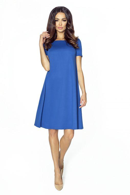 Sukienka trapezowa niebieska z elastycznej dzianiny