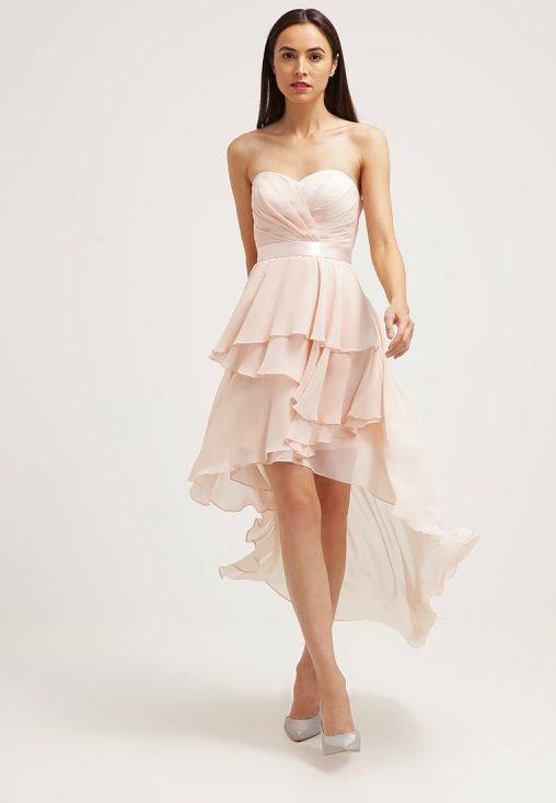 Gorsetowa sukienka zwiewna jasny róż
