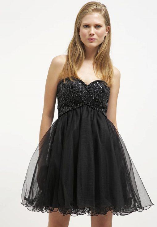 Krótka czarna sukienka gorsetowa rozkloszowana