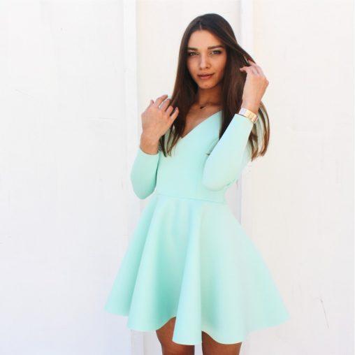 Sukienka piankowa z długim rękawem niebieska