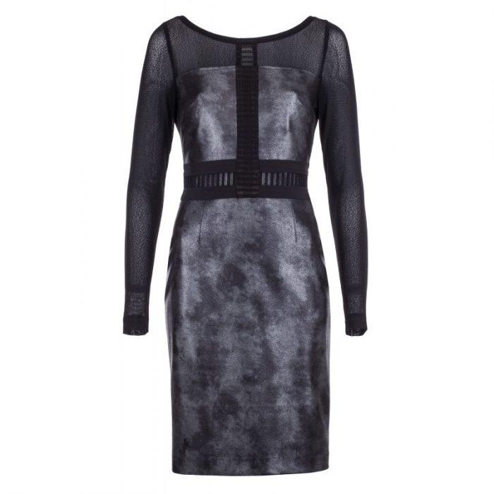 Sukienka imitacja skóry rękawy z siateczki