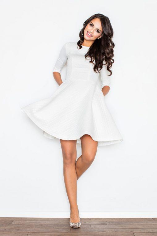Rozkloszowana sukienka pikowana ecru