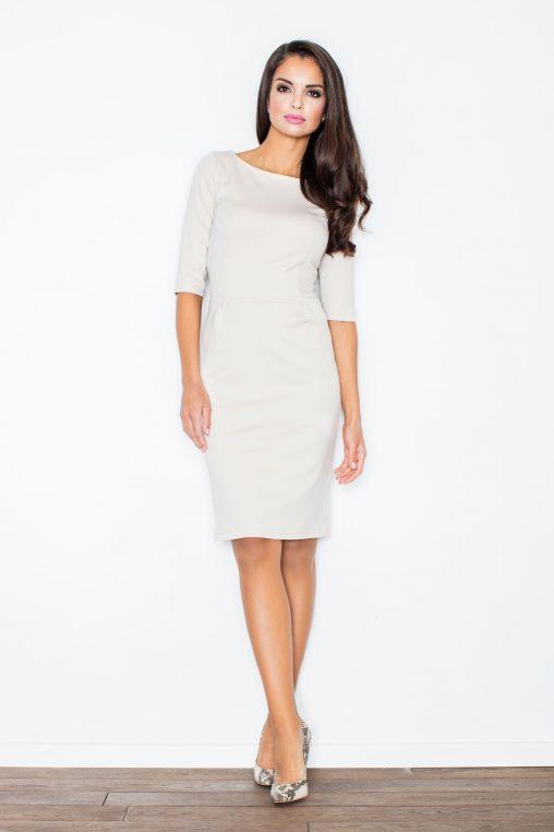 elegancka klasyczna sukienka beżowa