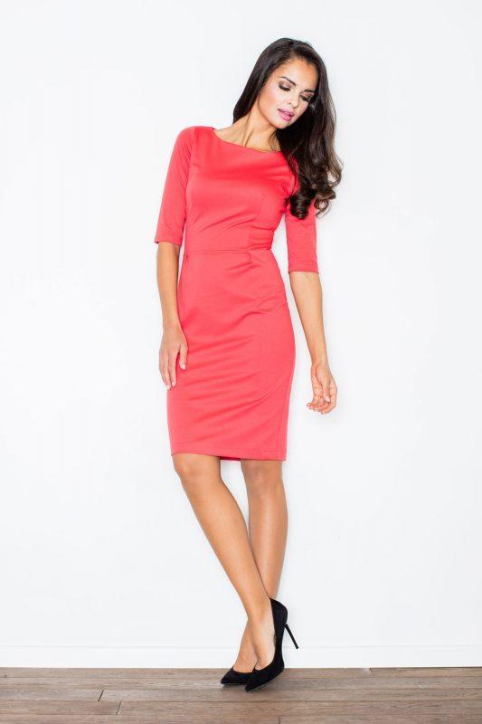 elegancka klasyczna sukienka koralowa