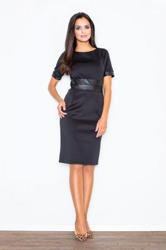 Czarna elegancka sukienka ze wstawkami ze skóry czarna