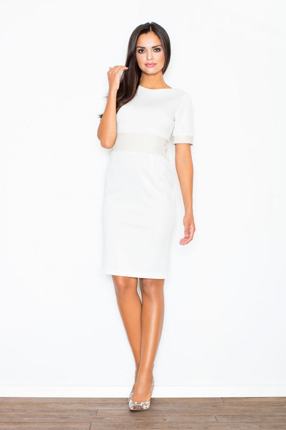 Elegancka sukienka ze wstawkami skórzanymi ecru