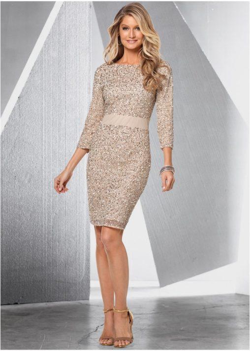 Sylwestrowe sukienki z cekinami - beżowa
