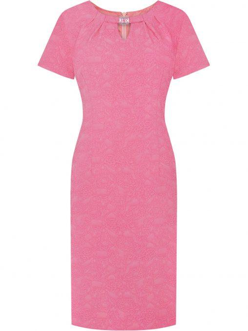 Elegancka różowa sukienka żakardowa