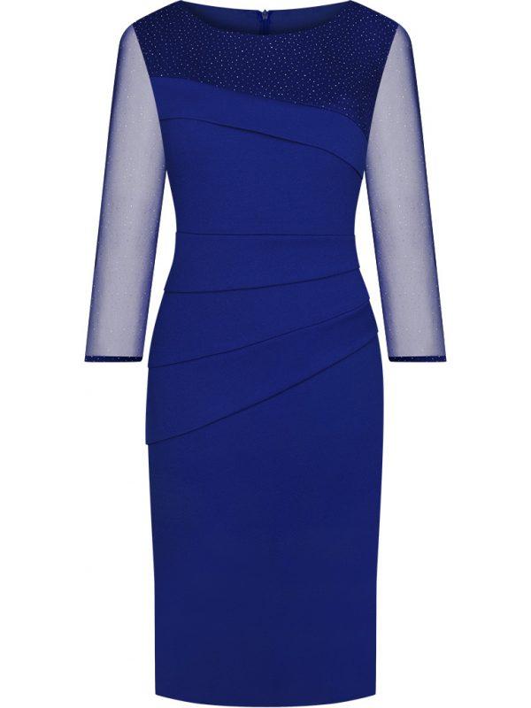 Modne sukienki na wesele - niebieska błyszcząca kreacja