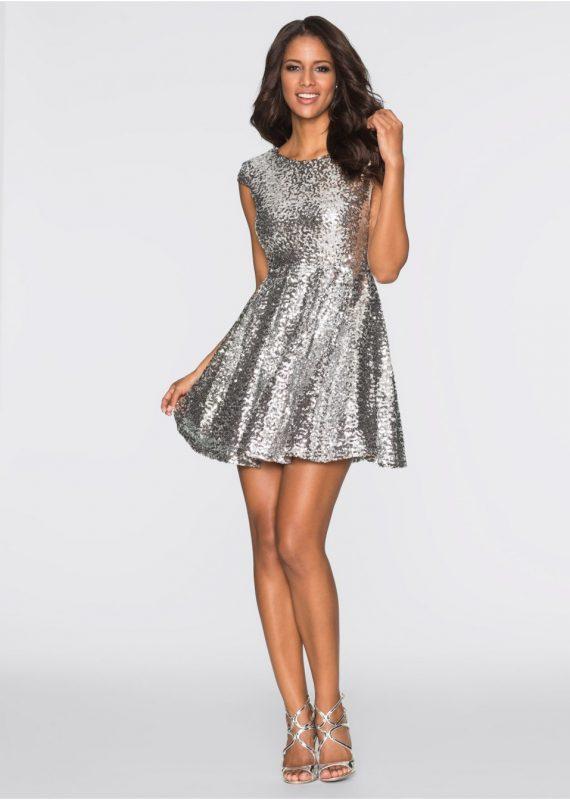 Srebrna sukienka z cekinów na sylwestra lub wesele