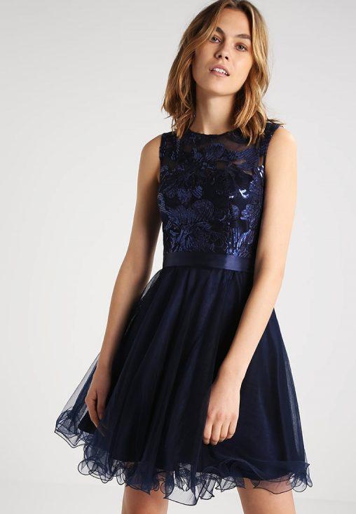 Granatowa koktajlowa sukienka bez pleców