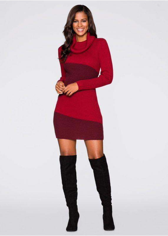 Czerwona sukienka dzianinowa z golfem