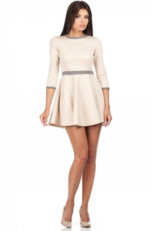 Sukienka z koła rozkloszowany fason beżowa