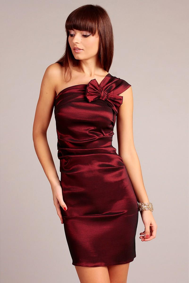 Sukienka z jednym ramieniem bordowa