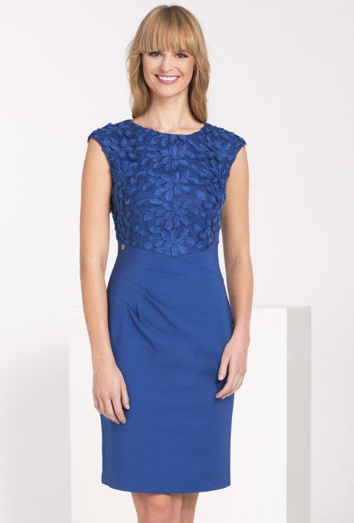 Sukienka z kwiatami dopasowana ołówkowa niebieska