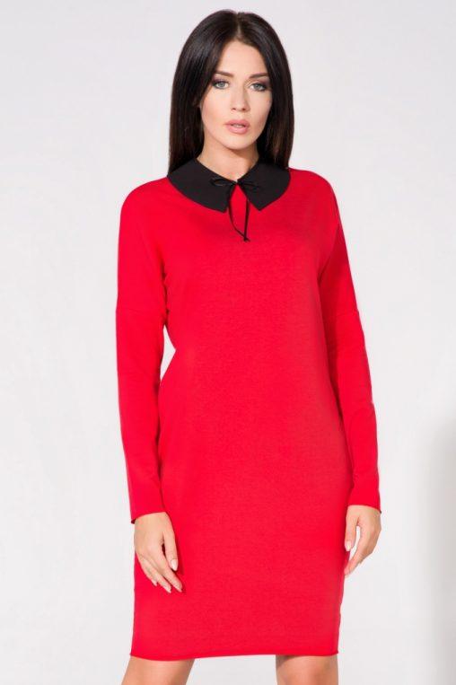Sukienka z kołnierzykiem i kieszeniami czerwona