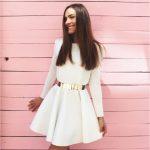 Sukienka długi rękaw ecru