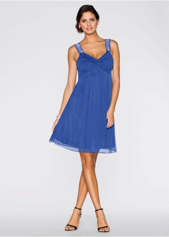 niebieska sukienka z szyfonu