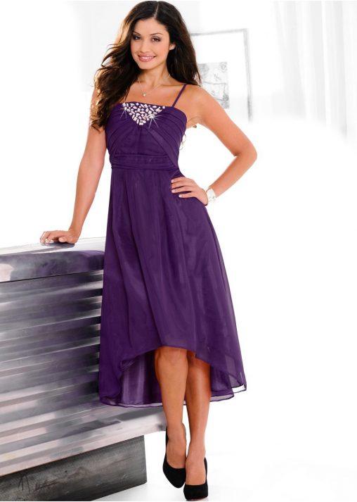 Sukienka na ramiączkach na wesele fioletowa