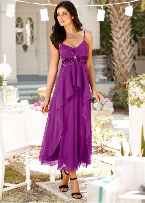Sukienka wieczorowa maxi na wesele fioletowa