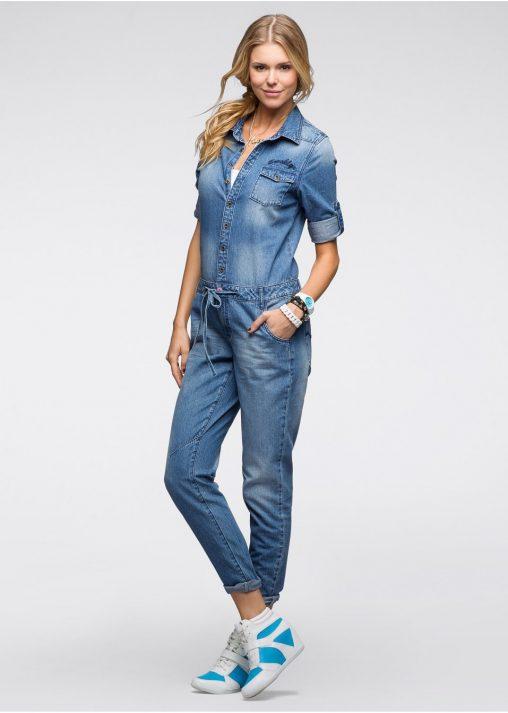 Kombinezon jeansowy z krótkim rękawem