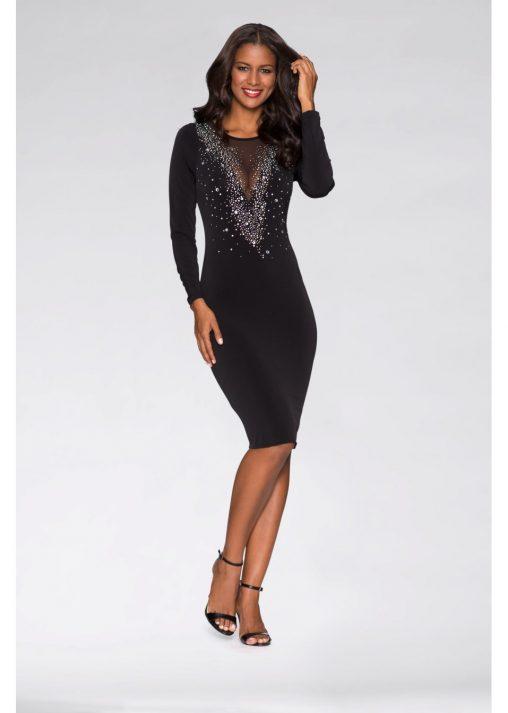 Wieczorowa sukienka z kamieniami czarna