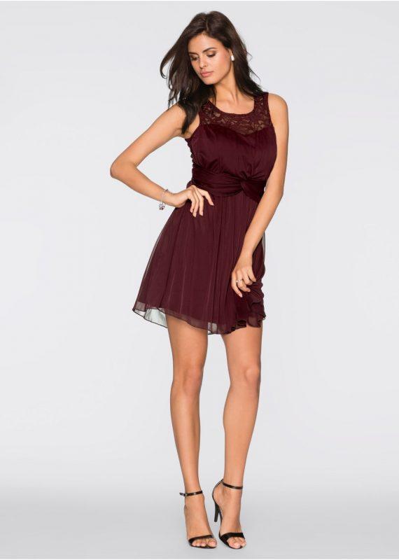 Bordowa sukienka koktajlowa z cekinami