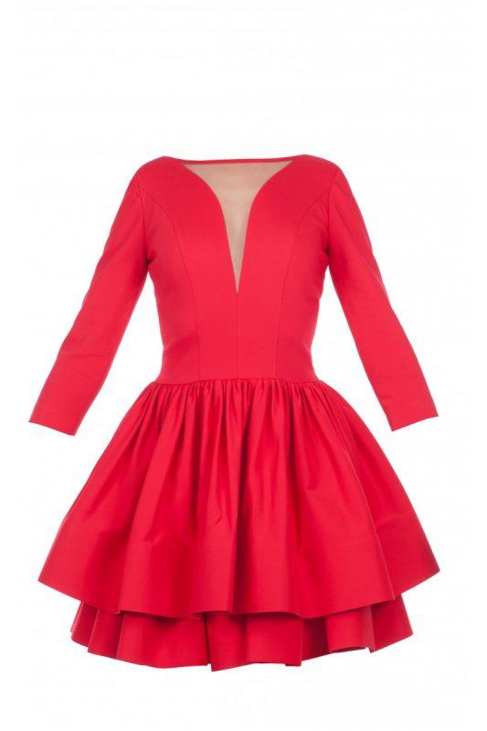 sukienka z falbankami na dole czerwona