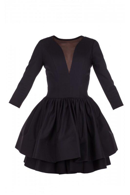 Sukienka z falbanką na dole czarna