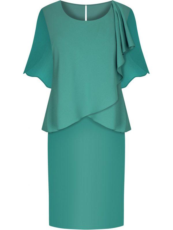 Zielona sukienka wyszczuplająca brzuch