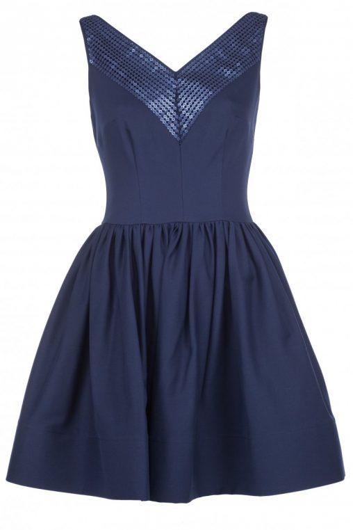 Granatowa sukienka z cekinami na sylwestra