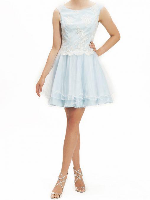 Niebieska sukienka z tiulem na studniówkę i wesele