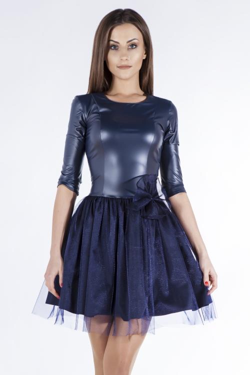 Skórzana sukienka z tiulem granatowa