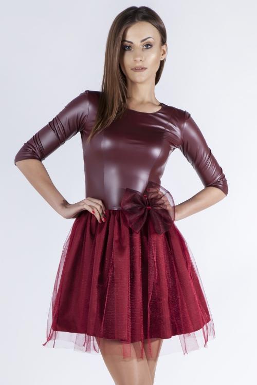 sukienka skóra z tiulem na sylwestra
