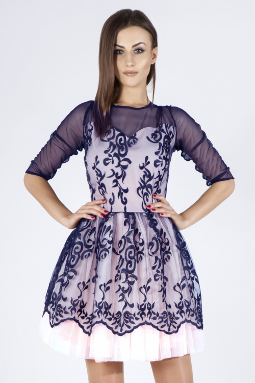 sukienka rozkloszowana z siateczką granatowa