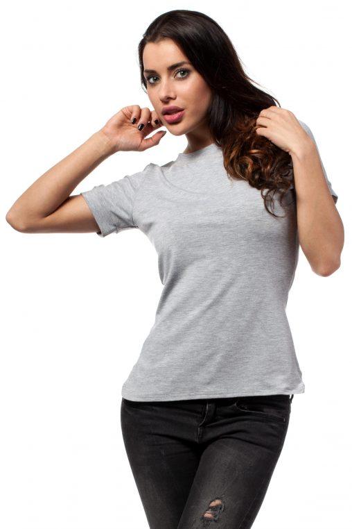 Klasyczny Szary T-shirt z Lamówką przy Dekolcie