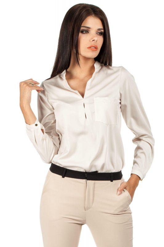 Elegancka Beżowa Bluzka Koszulowa ze Stójką