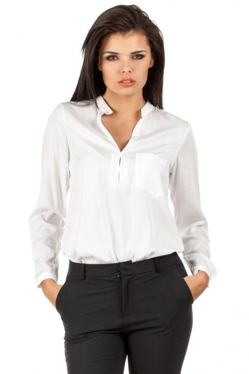 Elegancka Biała Bluzka Koszulowa ze Stójką