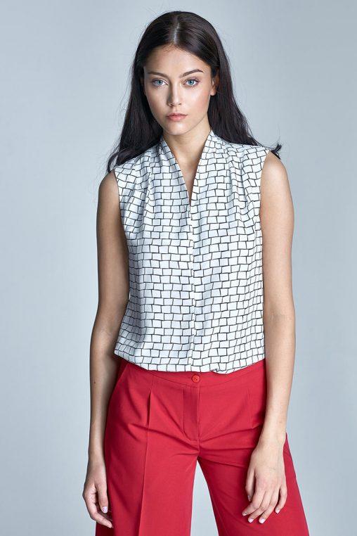 Elegancka bluzka bez rękawów letnia biała
