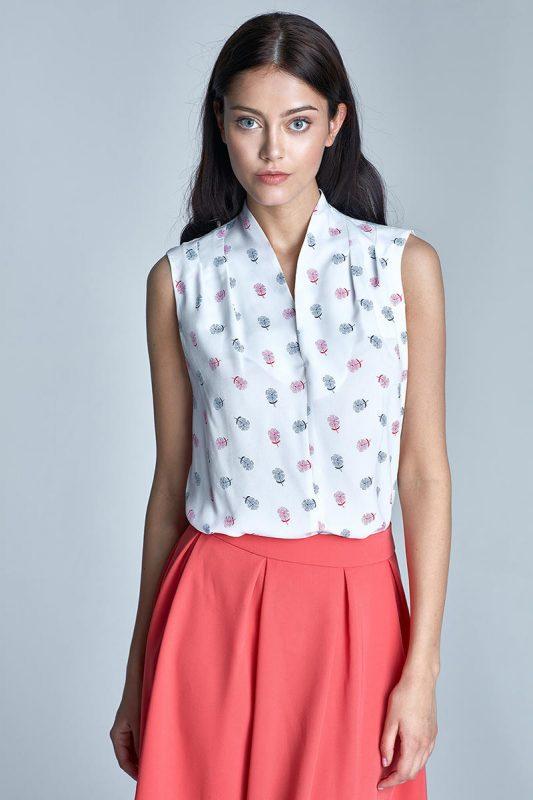 Elegancka bluzka we wzory bez rękawów
