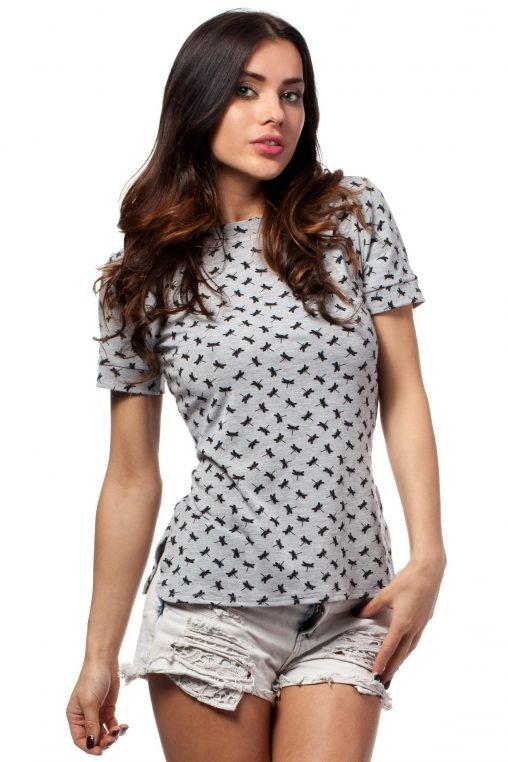 Szary t-shirt damski w Ważki z Lamówką przy Dekolcie