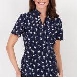 Koszulowa Bluzka Granatowa z Nadrukiem Flamingów