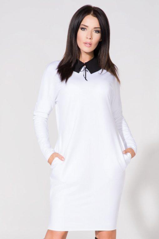 Biała sukienka z czarnym kołnierzykiem