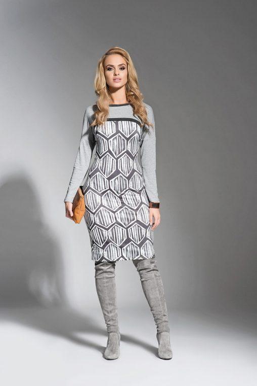 Sukienka we wzory szara długi rękaw