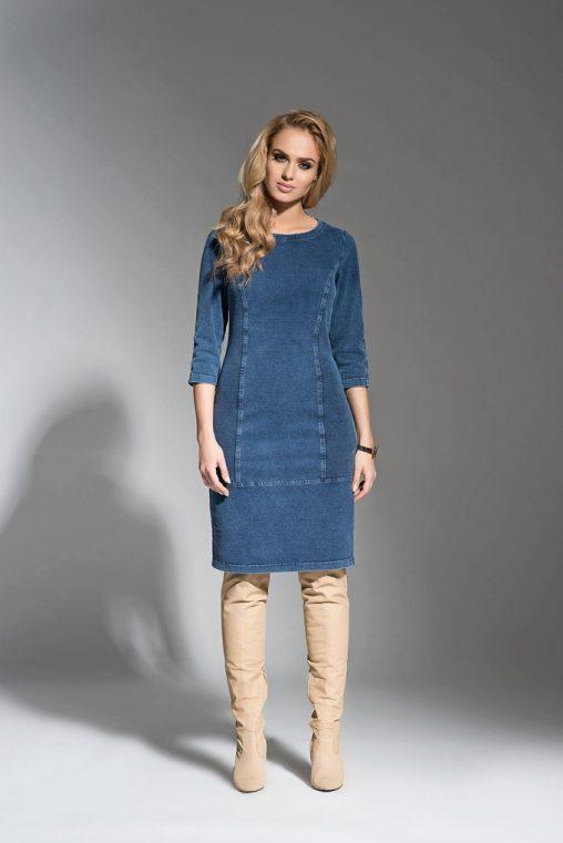 Jeansowa sukienka do kolan