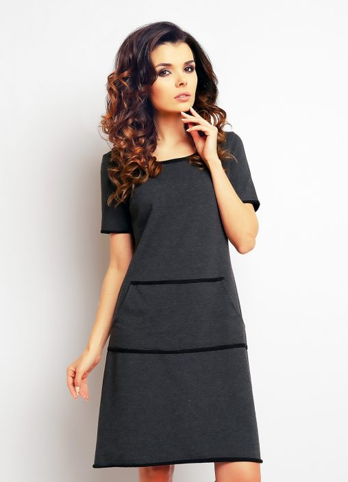 Bawełniana sukienka z kieszeniami grafitowa