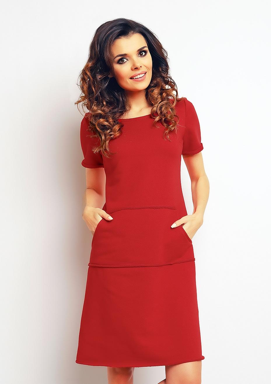 Bawełniana sukienka z kieszeniami czerwona