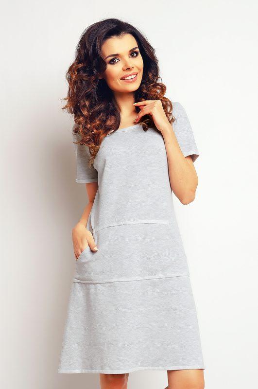 Szara bawełniana sukienka z kieszeniami