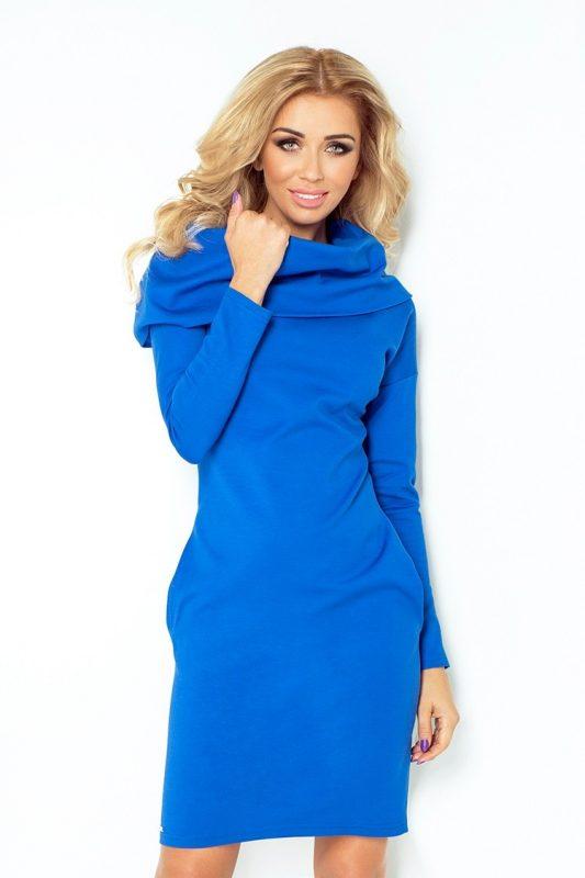 gruba sukienka z golfem niebieska