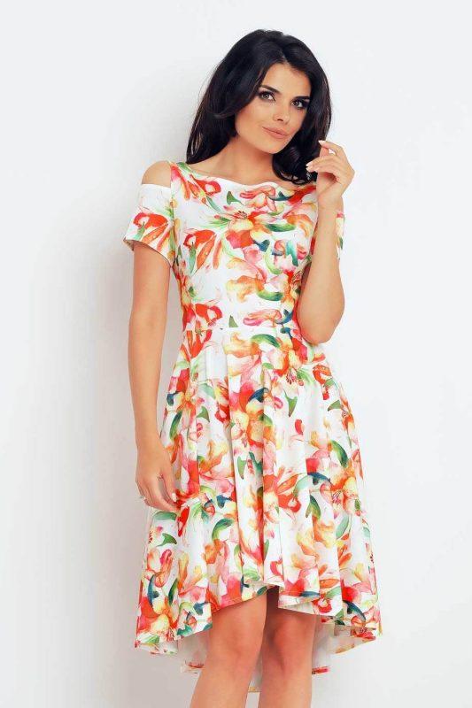 sukienka na lato w kwiaty pomarańczowa